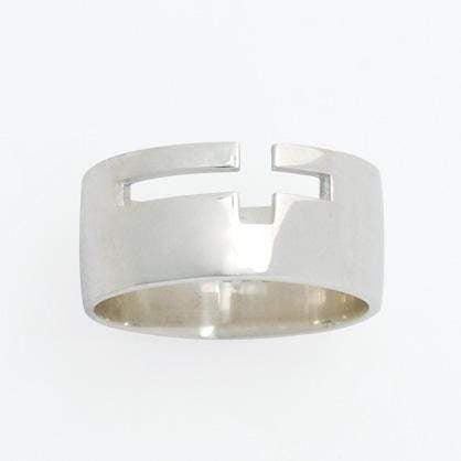 Men's Sterling Silver Open Sideways Cross ring