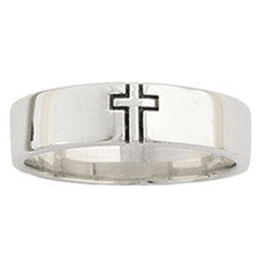 Men's Sterling Silver Outlined Cross Ring
