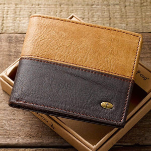 Men's Two Tone Leather Wallet With Cross