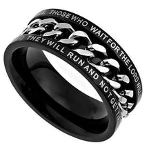 Mount Up With Wings Like Eagles Men's Black Chain Ring