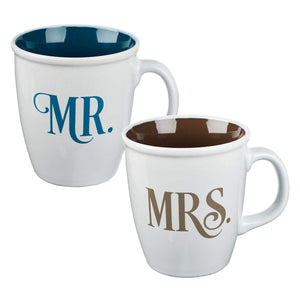 Mr. & Mrs. Coffee Mug Set With Bible Verse