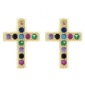 Multi-Color CZ Gold Cross Earrings