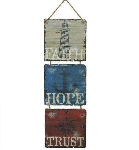 Nautical Faith Hope Trust Sign