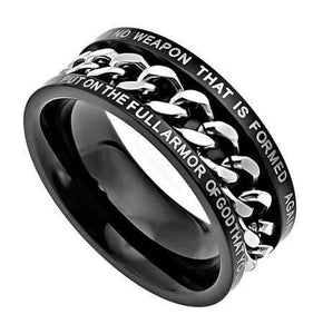 No Weapon Black Chain Ring