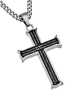 No Weapon Formed Against You Black Cross Necklace