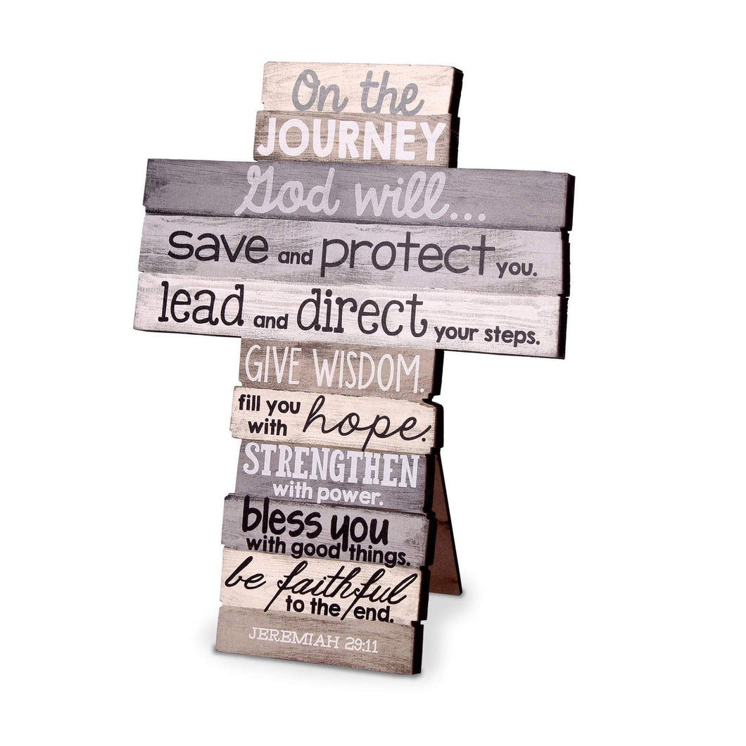 On The Journey Stacked Scripture Cross