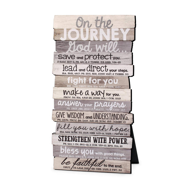 On The Journey Stacked Scripture Plaque