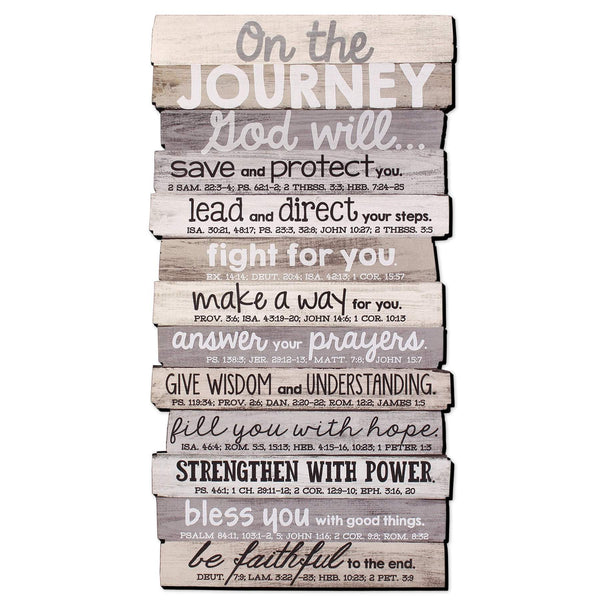 On The Journey Stacked Scripture Wall Plaque