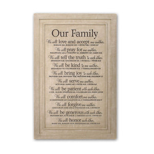 Our Family Cast Stone Plaque