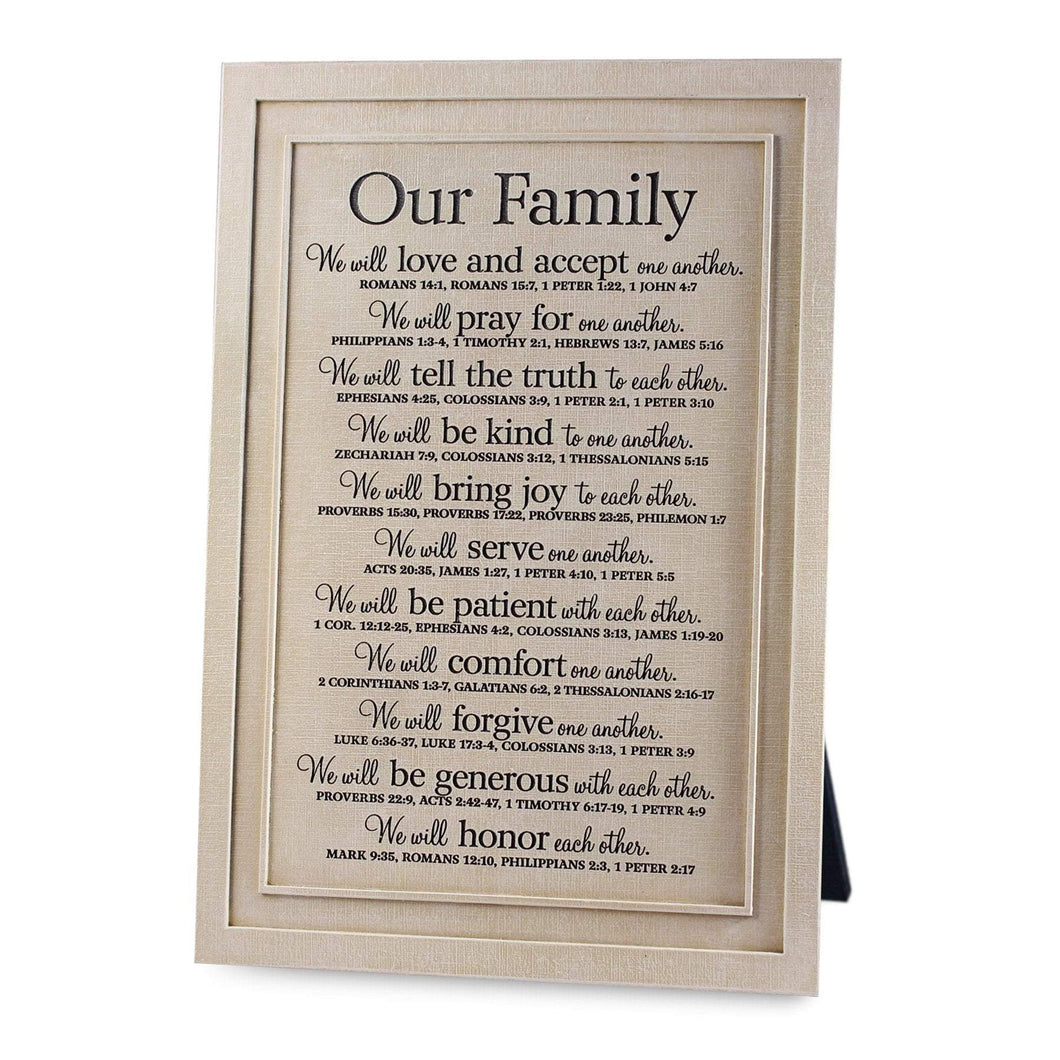 Our Family Cast Stone Scripture Plaque