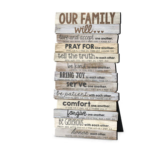 Our Family Stacked Scripture Plaque
