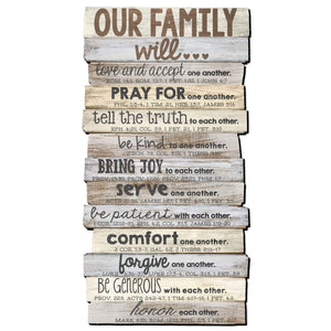 Our Family Stacked Scripture Wall Plaque