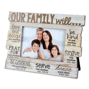 Our Family Will Scripture Photo Frame