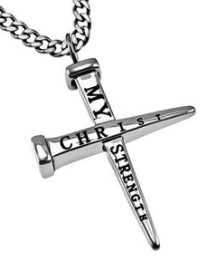 Men's 2 Nail Cross Necklace Christ My Strength - Atrio Hill