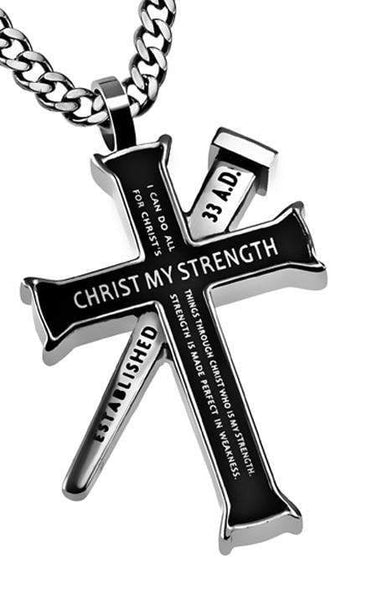 Philippians 4:13 Black Cross Necklace With Nail