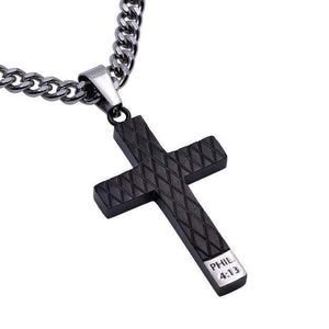Philippians 4:13 Black Diamond Back Cross Necklace