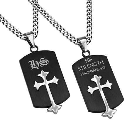 Philippians 4:13 Black Old English Shield Cross Necklace
