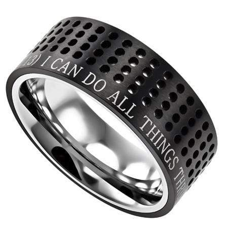 Philippians 4:13 Black Sport Ring