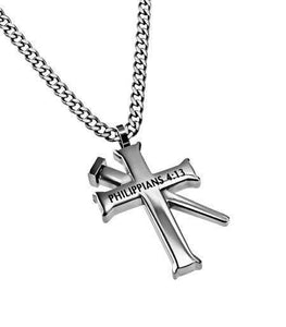 Philippians 4:13 Cross Necklace With Nail