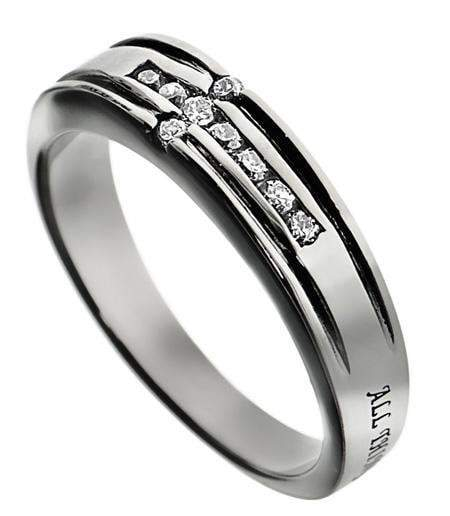 Philippians 4:13 CZ Channel Cross Ring