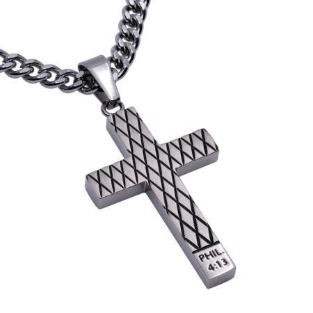 Philippians 4:13 Diamond Back Cross Necklace