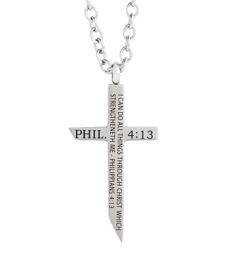 Philippians 4:13 Stainless Steel Cross Necklace