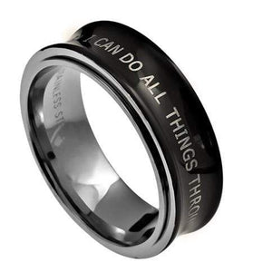 Philippians 4:13 Stainless Steel Spinner Ring