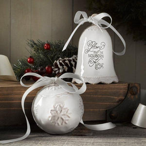 Porcelain Christmas Bell And Bauble Ornament