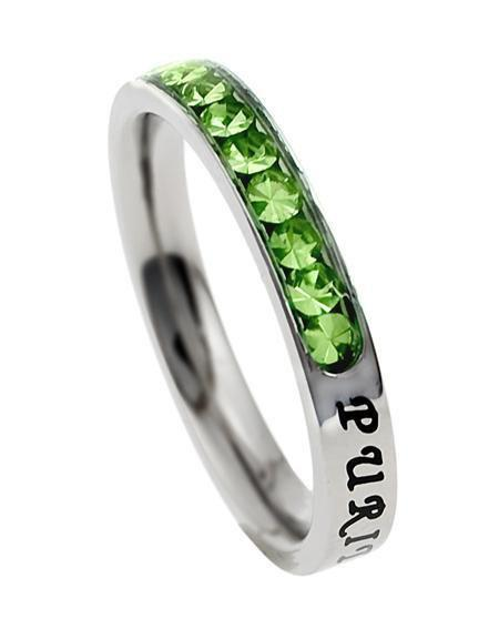 Princess Cut Purity Birthstone Ring August Peridot