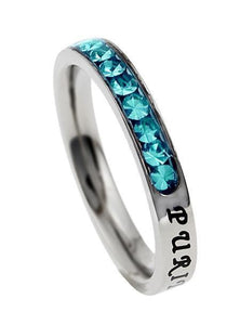 Princess Cut Purity Birthstone Ring December Turquoise