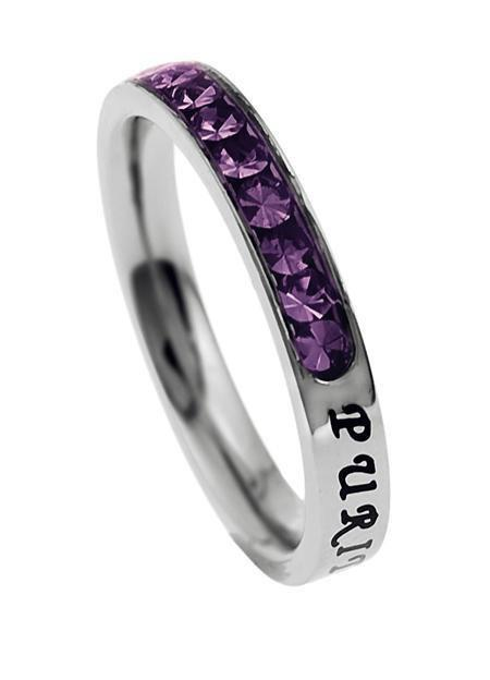 Princess Cut Purity Birthstone Ring February Amethyst