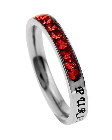 Princess Cut Purity Birthstone Ring July Ruby