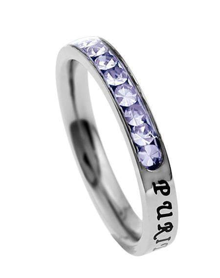 Princess Cut Purity Birthstone Ring June Light Amethyst