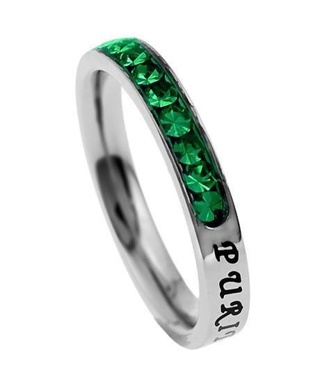 Princess Cut Purity Birthstone Ring May Emerald