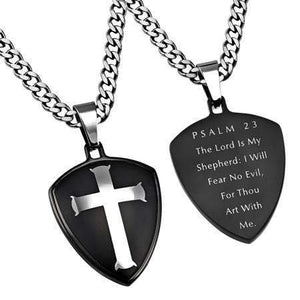 Psalm 23 Black Shield Cross Necklace