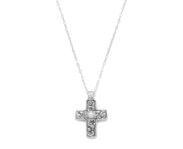 Reversible Pearl Cross Necklace