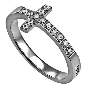 Saved By Grace Sideways Cross Ring