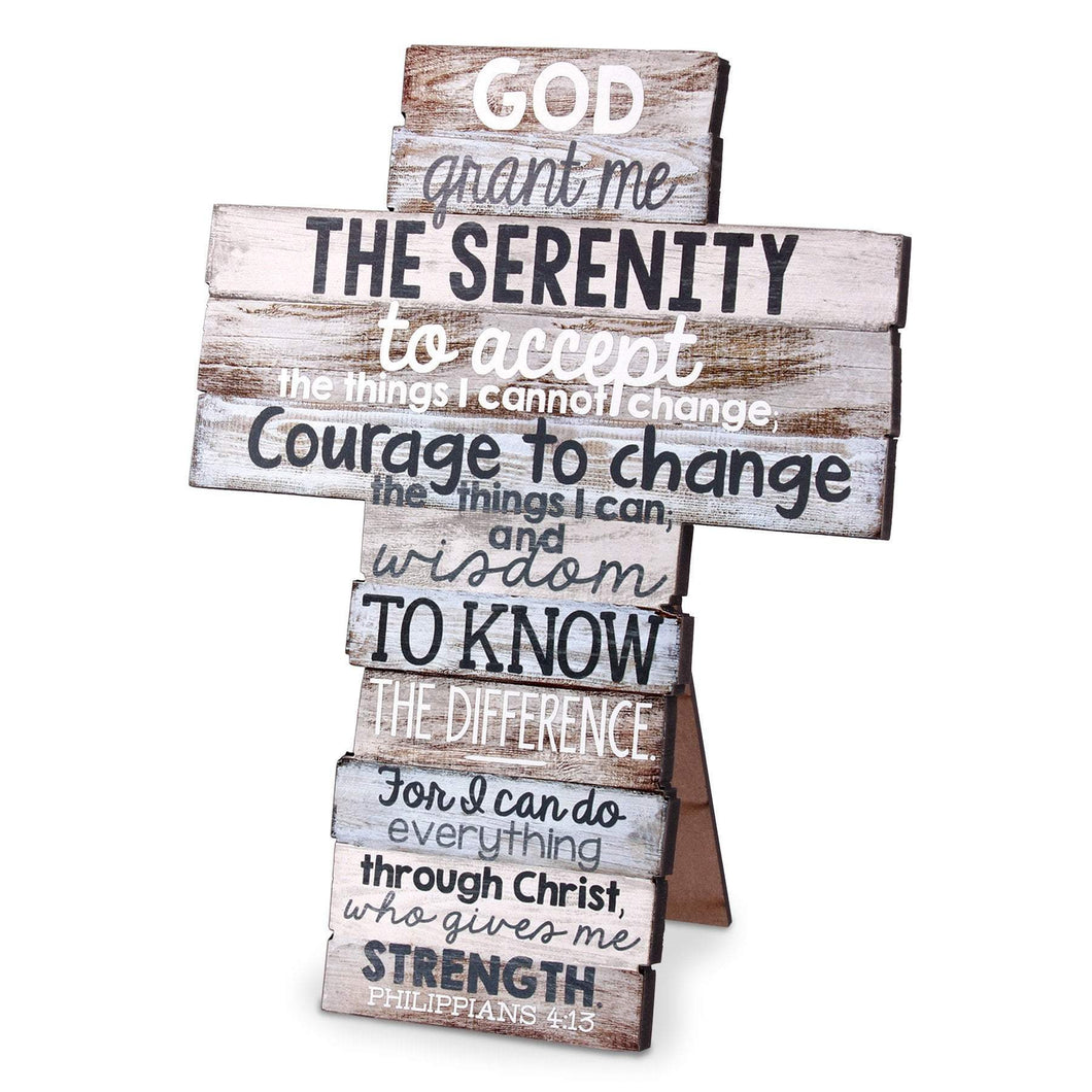 Serenity Stacked Scripture Cross (larger size)