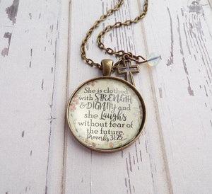 She Is Clothed In Strength And Dignity Necklace