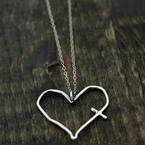 Silver Heart Cross Necklace