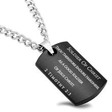 Soldier Of Christ Shield Cross Necklace - Black