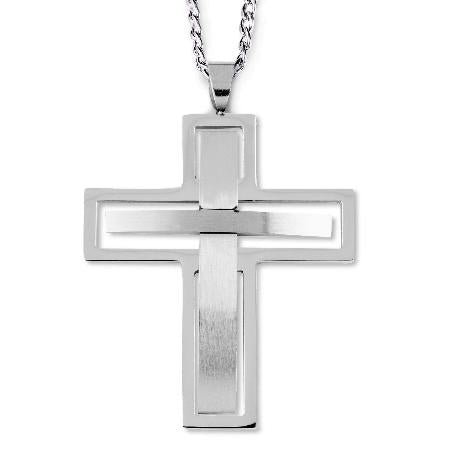 Stainless Steel Cross Cut-Out Necklace