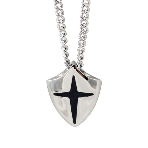 Stainless Steel Shield Cross Necklace - Joshua 1:9