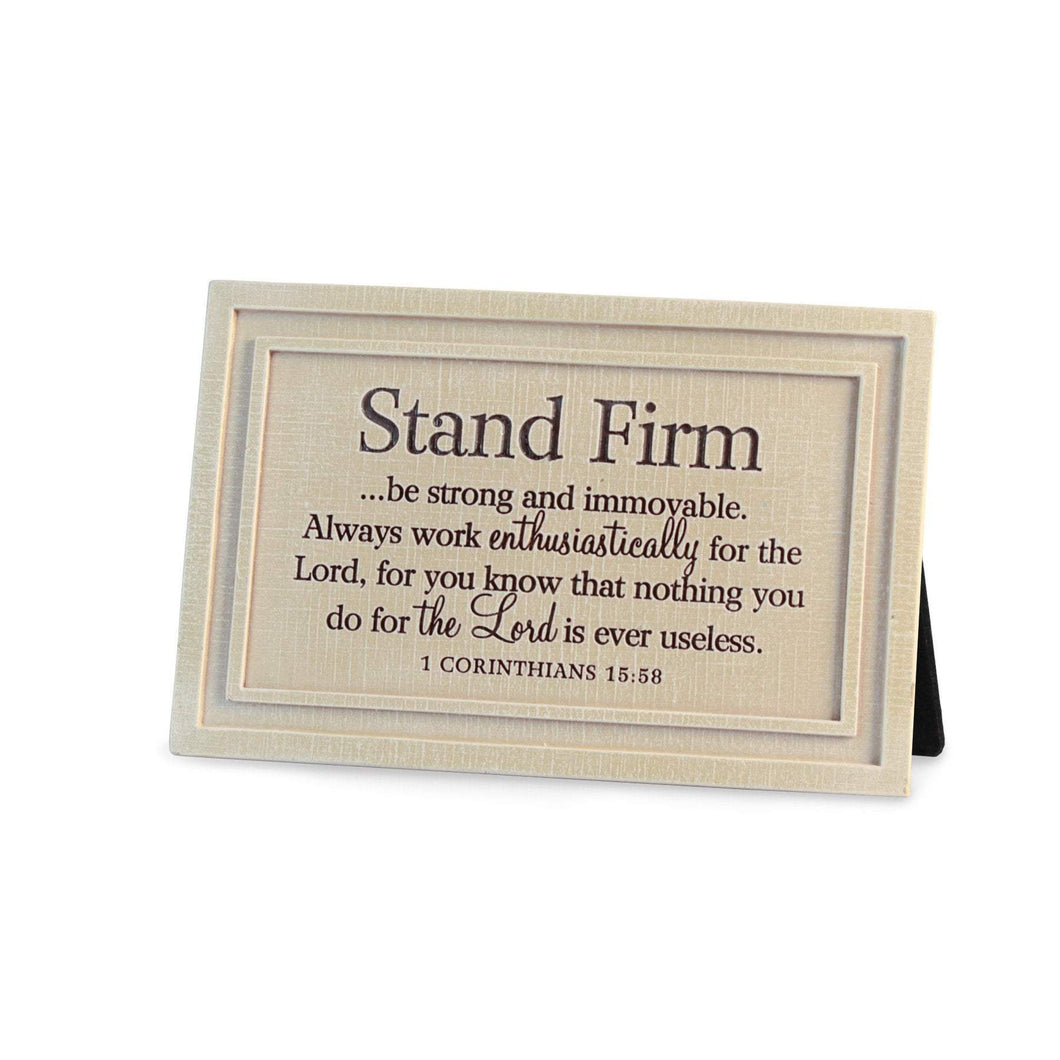 Stand Firm Cast Stone Scripture Plaque