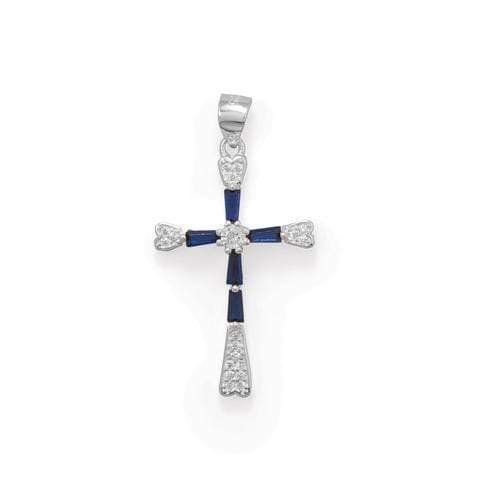 Sterling Silver Blue CZ Cross Pendant