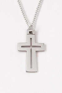 Sterling Silver Cross Necklace - Heavy Pierced