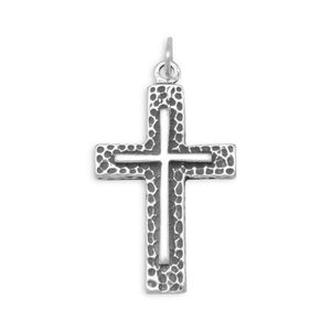 Sterling Silver Textured Cross Pendant