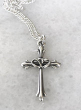 Sterling Silver Two Hearts Cross Necklace