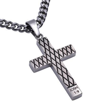 Strong And Courageous Diamond Back Cross Necklace