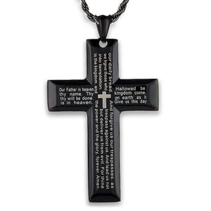 The Lord's Prayer Cross Necklace, Black